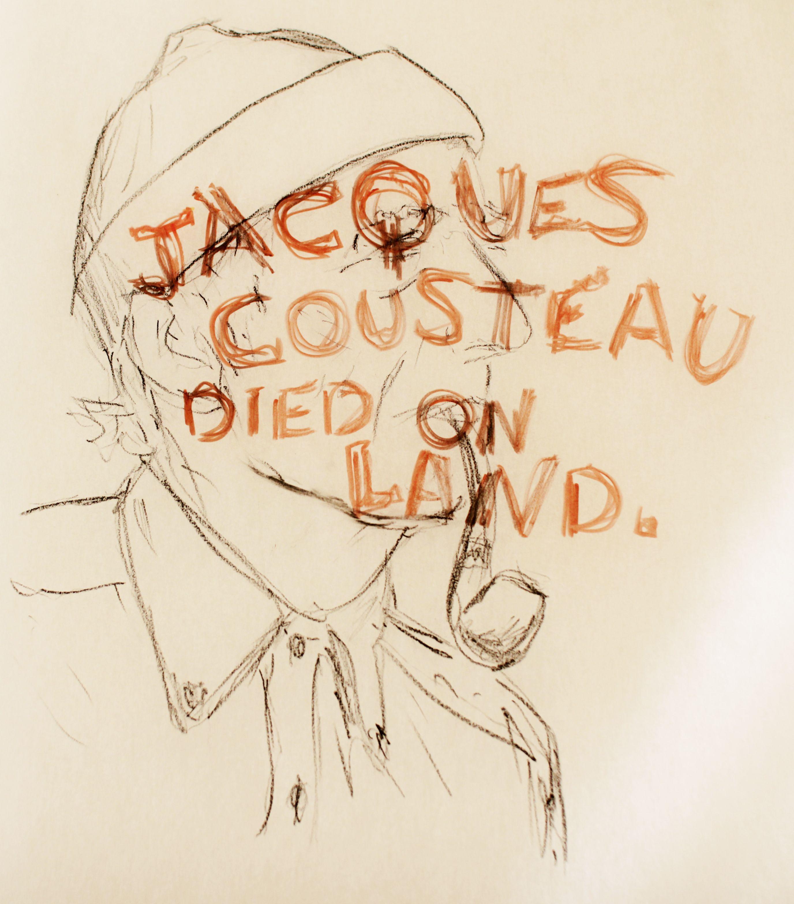 drawing of jacques cousteau famous sea explorer