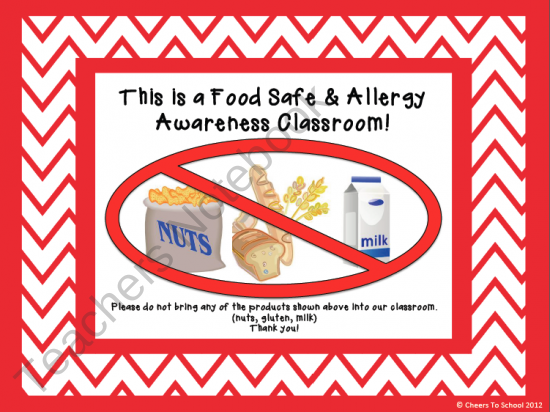 Allergy classroom signs