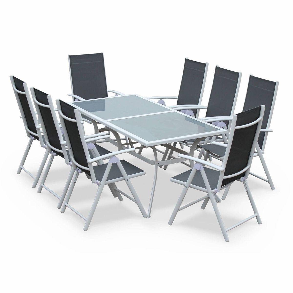 Salon De Jardin En Aluminium Table 8 Places Blanc Et Gris ...
