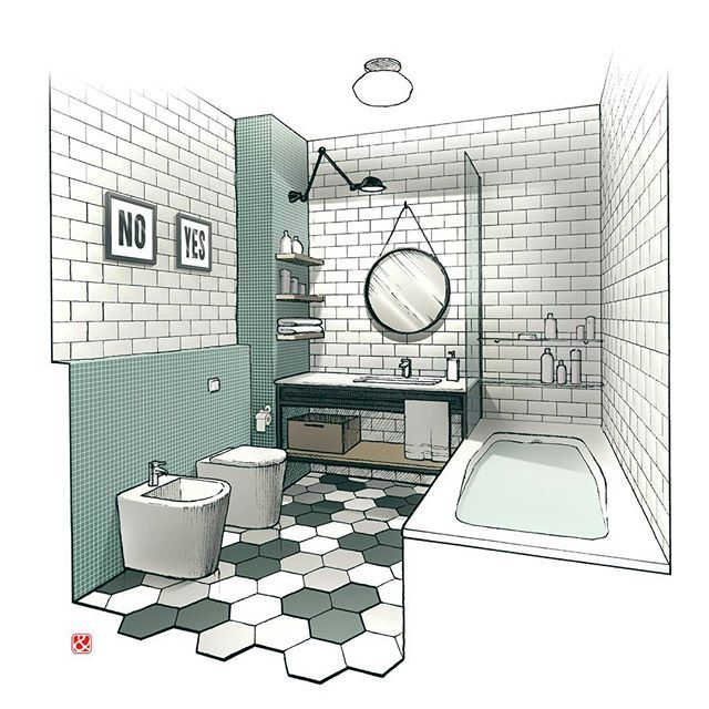 bathroom with round mirror sketch interior interiorsketch drawing sketch bestsketch