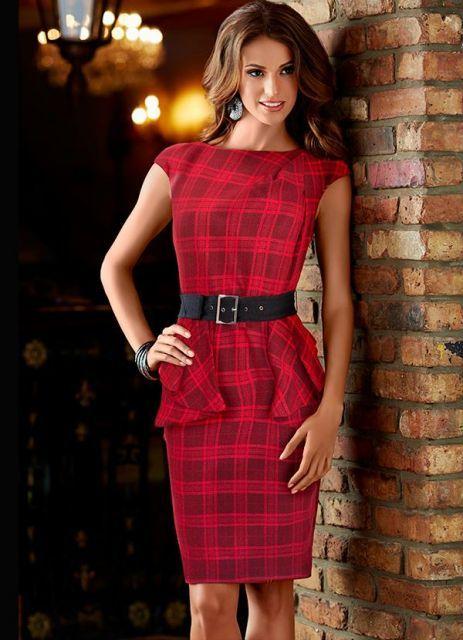 0cf568fa80 vestido peplum xadrez