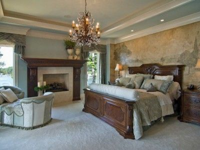 Traditional Master Bedroom with Tuscan Wall Mural