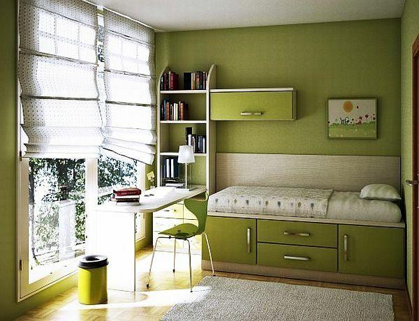 wohnideen jugendzimmergestaltung grüne wandgestaltung schreibtisch ...
