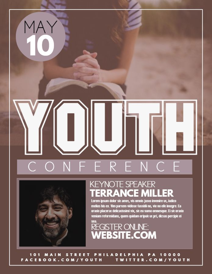 Youth church conference flyer template or social media template