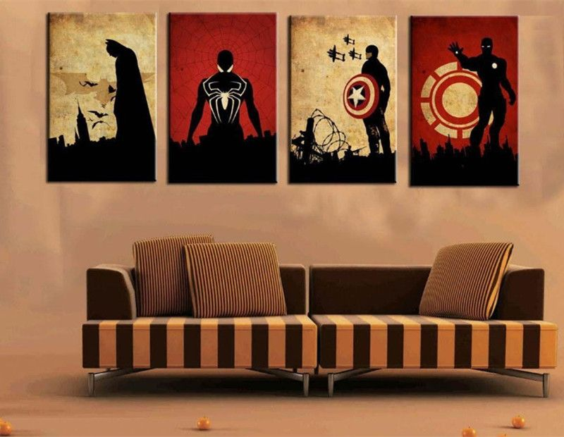 4 Panel Marvel Comics Heroes Pictures Hand Painted Oil Painting Wall Art Home Decor Acrylic Paintings Iron M Iron Man Painting Modern Oil Painting Oil Painting