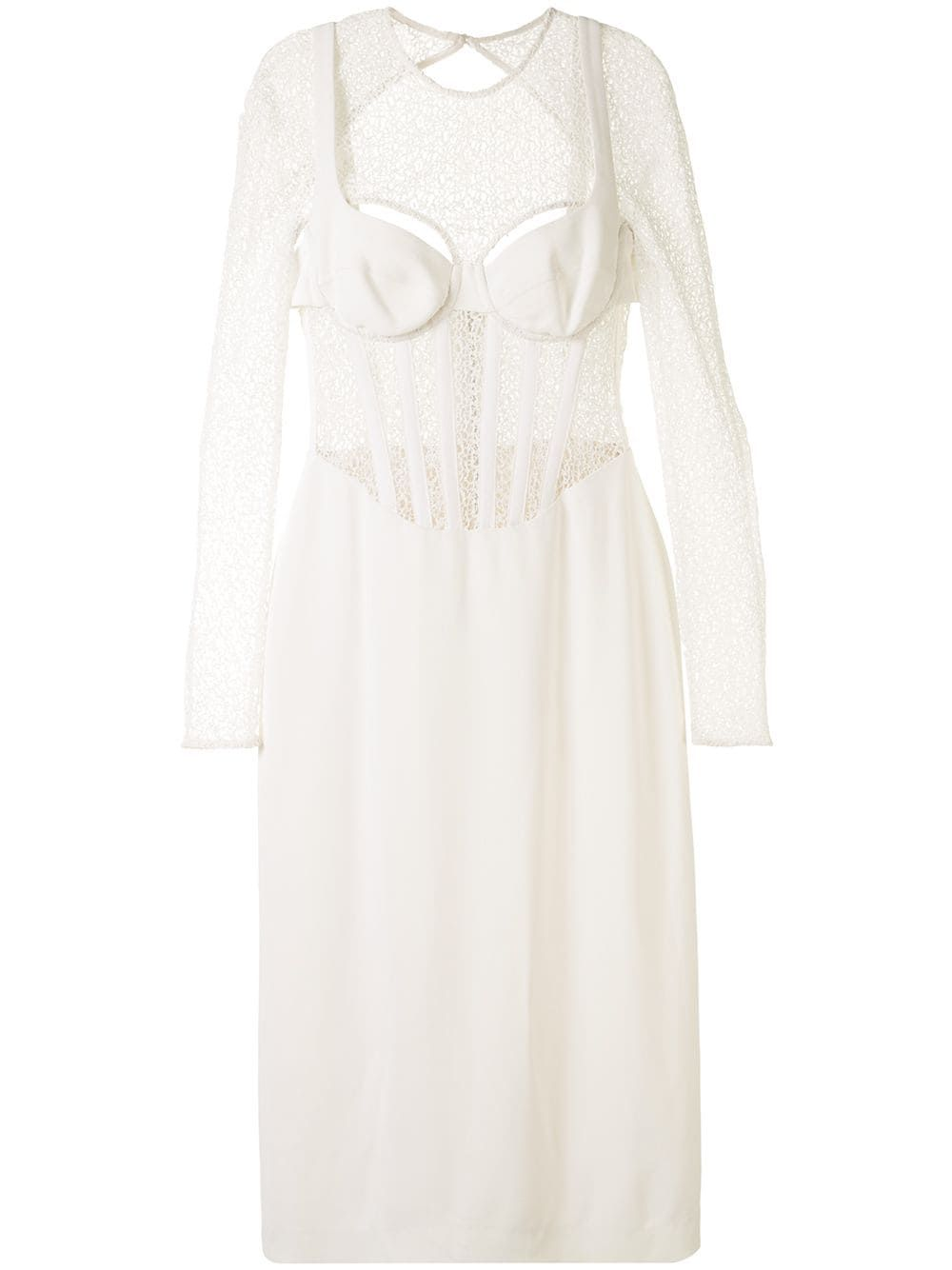 White stretch-crepe corset-style midi dress from DION LEE featuring panelled design, open back and rear zip fastening.