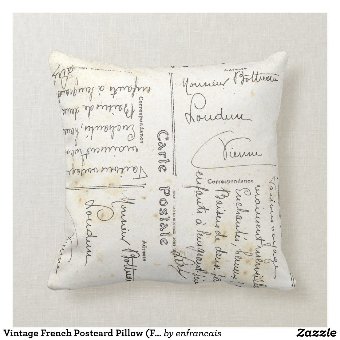 Vintage French Postcard Pillow French Script In 2020 Postcard