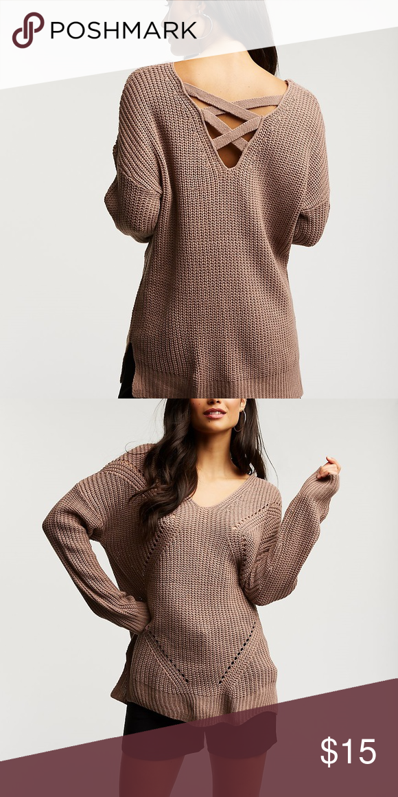 00dacffcbf5 Back Pullover Sweater Cool caging adds a trendy touch to this shaker knit pullover  sweater. V-neck Long sleeves Nude color Charlotte Russe Sweaters V-Necks