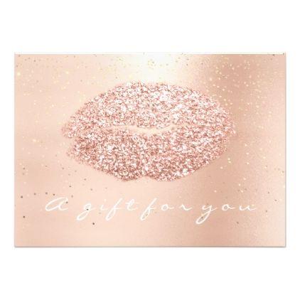 Gift Certificate Rose Gold Confetti Kiss Beauty Card - artists - confeti
