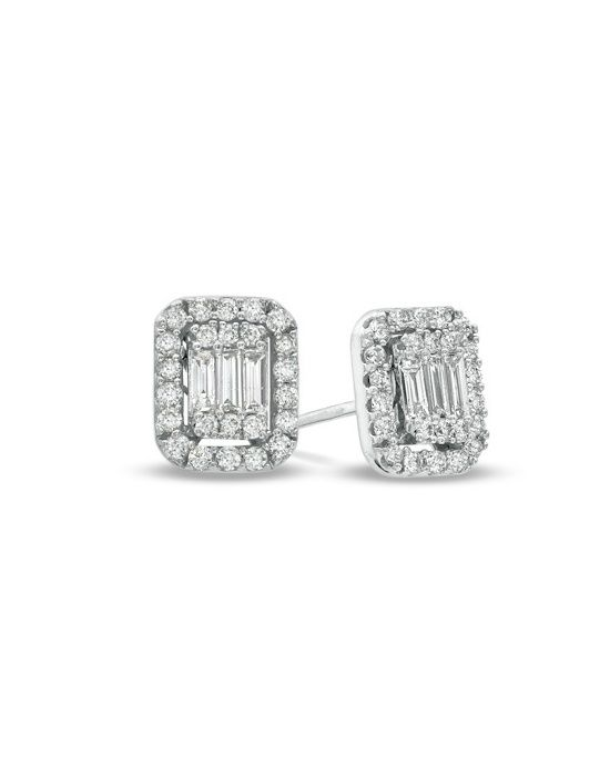 3174f7096 5/8 CT. T.W. Baguette and Round Diamond Stud Earrings in 14K White Gold