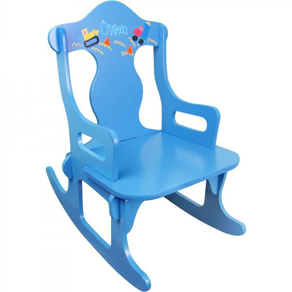 Add a personal touch to this blue puzzle rocker with a cute design and the little one's name!