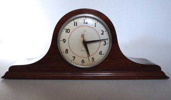 Vintage Wooden Mantel Clock Westclox Electric Fireplace