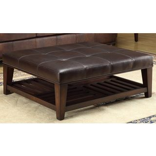 Hudson Dark Brown Leather Ottoman Ping