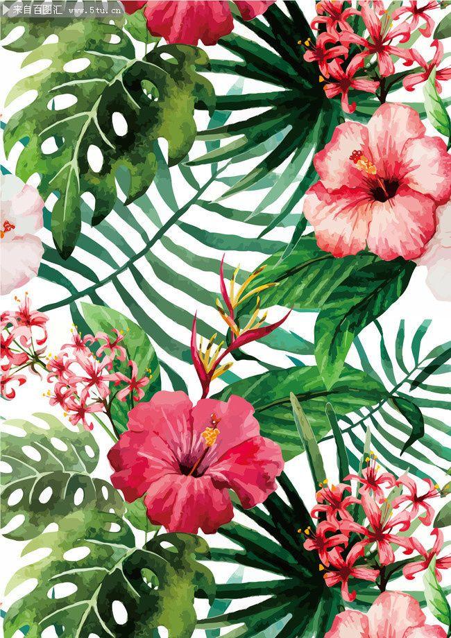扶桑花花纹下载 Plant leaves, Flowers, Mural
