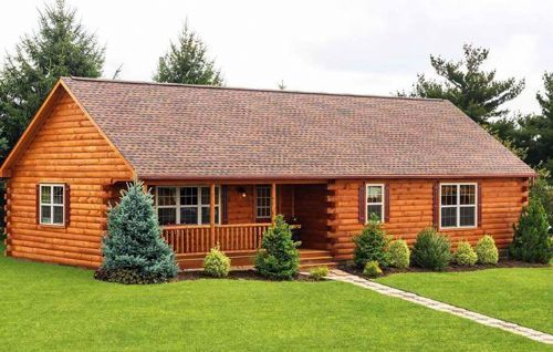 26 X 52 Frontier With 8 12 Pitch Roof Prefab Log Cabins Log Home Builders Log Cabin Plans