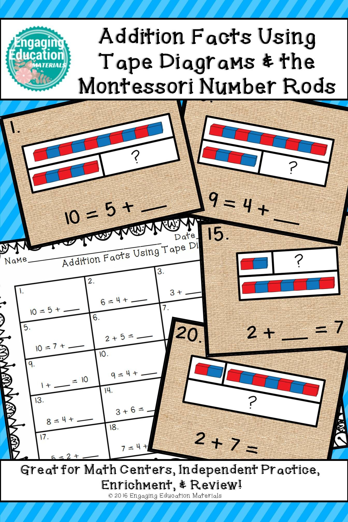Addition Facts Using Tape Diagrams And The Montessori