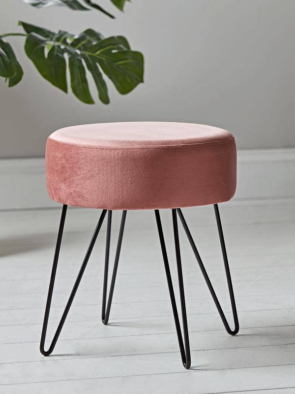 New Velvet Hairpin Leg Stool Blush New Furniture New This Season Acrylic Bar Stools Velvet Stool Dressing Table With Stool