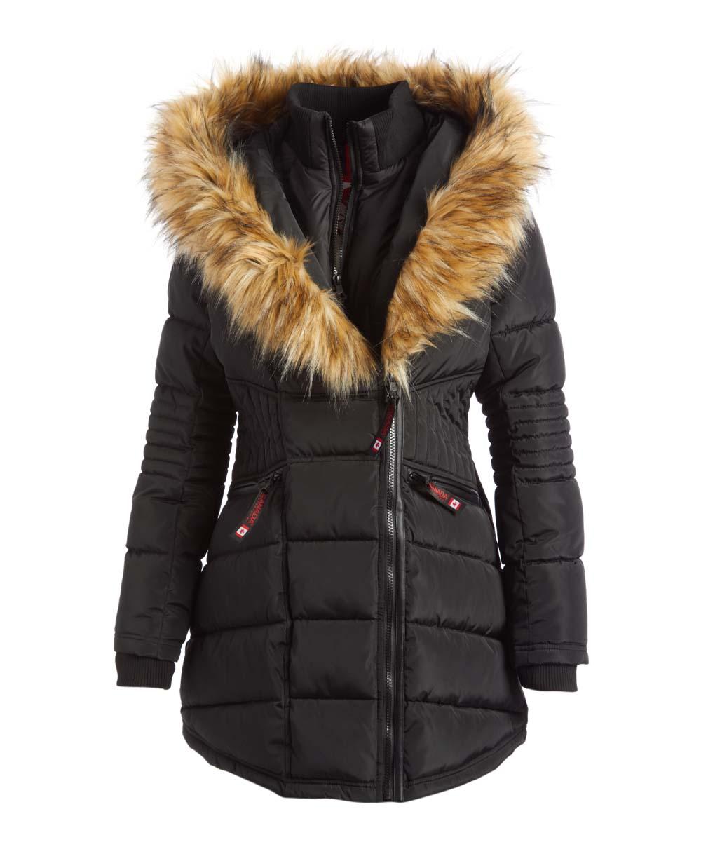 Canada Weather Gear Black Nat Oversize Faux Fur Hood Long Puffer Jacket Women Plus Zulily Zhenskie Kurtki [ 1201 x 1000 Pixel ]