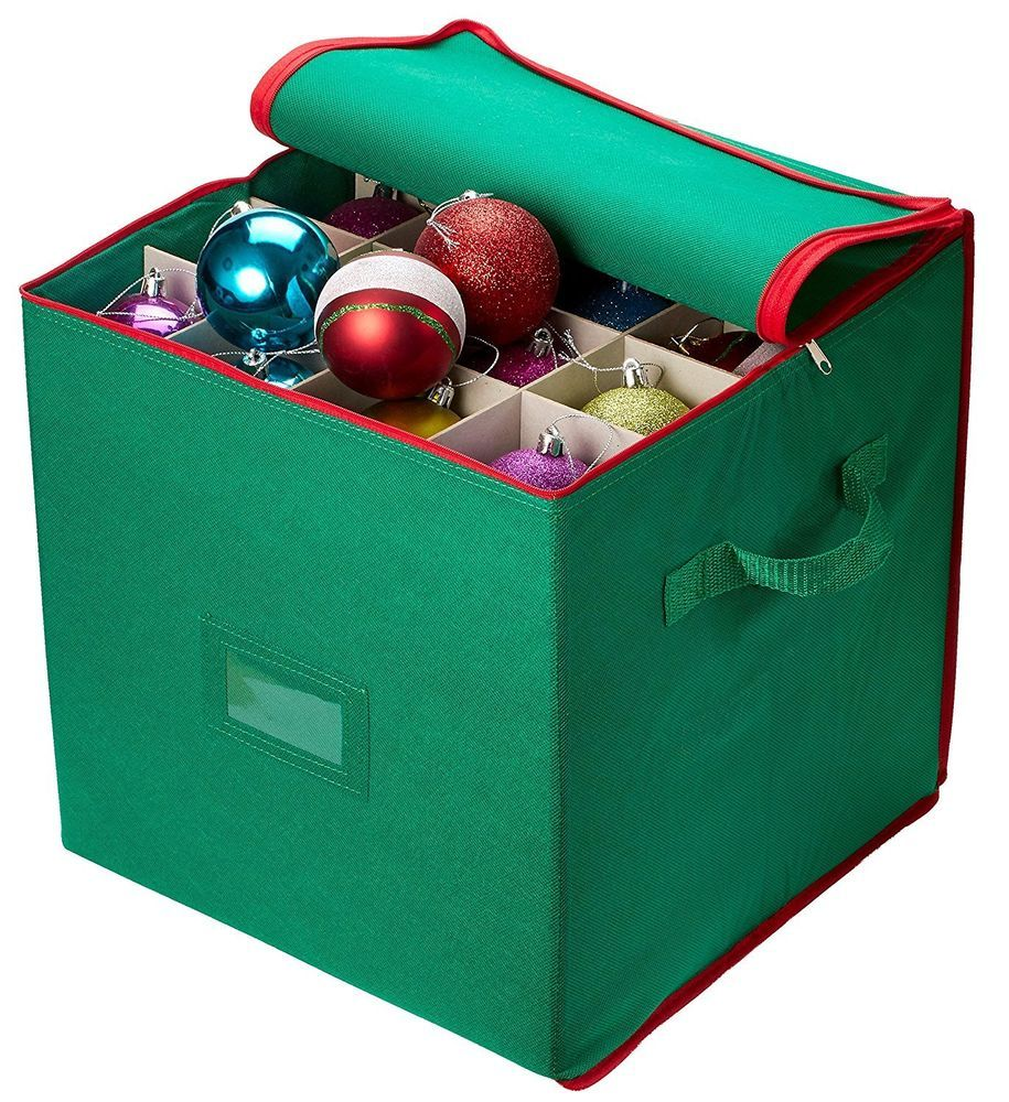Christmas Ornament Storage   Stores Up To 64 Holiday Ornaments, Adjustable  Dividers, Zippered Closure With Two Handles. Attractive Storage Box Keeps  Holiday ...