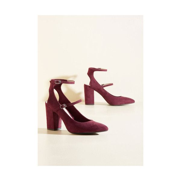 BC Footwear Minimal Astute Recruit Heel (91 AUD) ❤ liked on Polyvore featuring shoes, pumps, ankle strap heel, heels, red, pointy-toe pumps, ankle wrap pumps, block heel shoes, pointy toe ankle strap pumps and heel pump