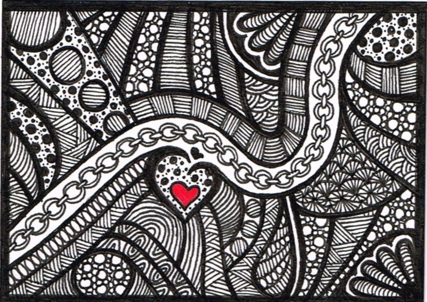 Line Art Valentine : Aceo black and white zentangle valentine drawing doodle art