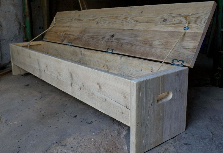 The Original Storage Bench Wood Diy Rustic Bench Wood Projects