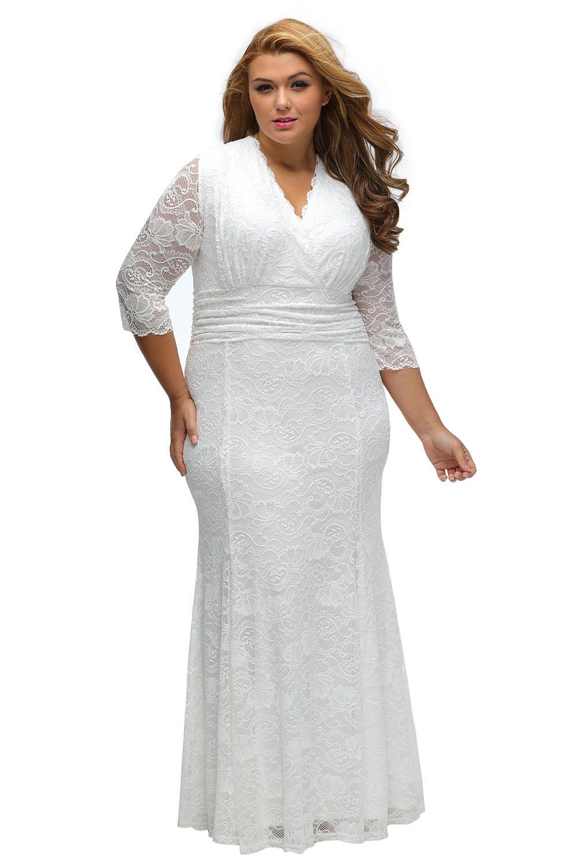 Robes de Soiree Grande Taille Dentelle Blanc Robe de Fete Pas Cher www.modebuy.com @Modebuy #Modebuy #Blanc #gros #style #Grande