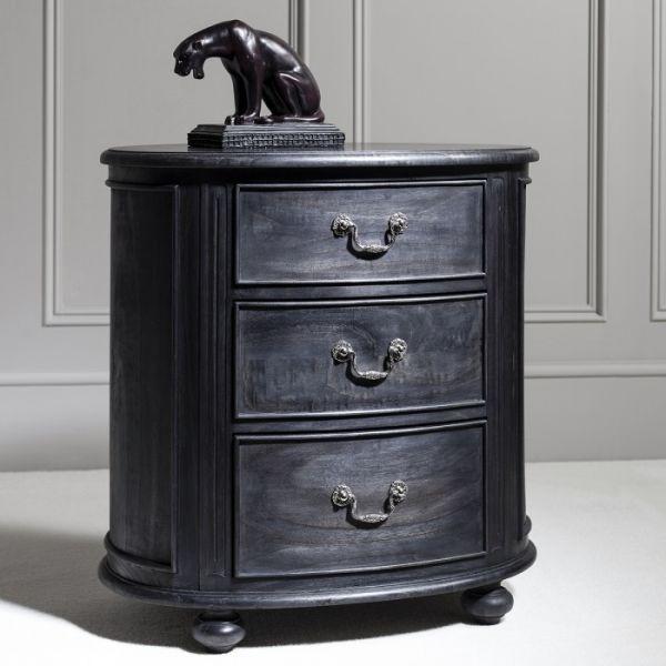 Black Frank Hudson Safari Oval Bedside Cabinet