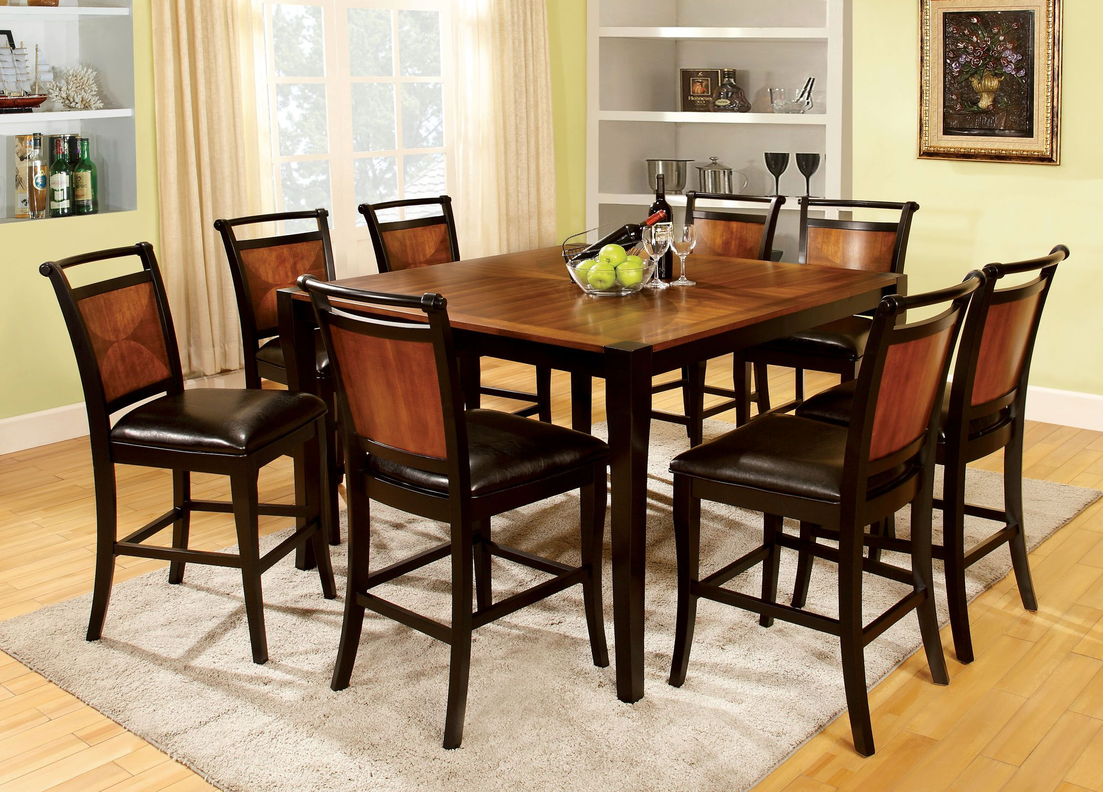 Furniture Of America Loritha 9 Piece Counter Height Set Black Counter Height Dining Sets Dining Room Sets Solid Wood Dining Set