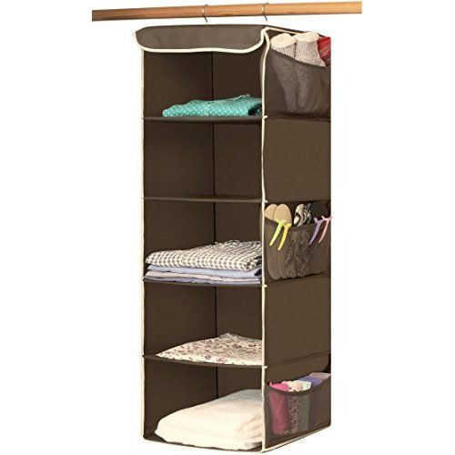 Household Essentials 6 Shelf Hanging Closet Organizer With Plastic Shelves  For Adults And Kids