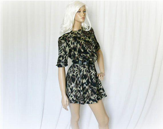 Vintage 80s Animal Print Mini Dress M Black by PopFizzVintage ... c585217d2