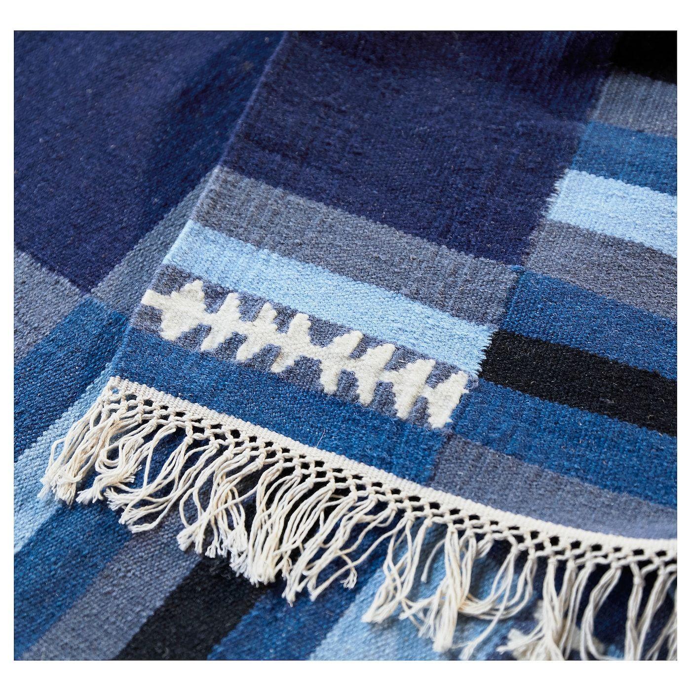 Ikea Tranget Rug Flatwoven Handmade Assorted Blue Shades Mit Bildern Teppich Flach Gewebt Teppich Wollteppich