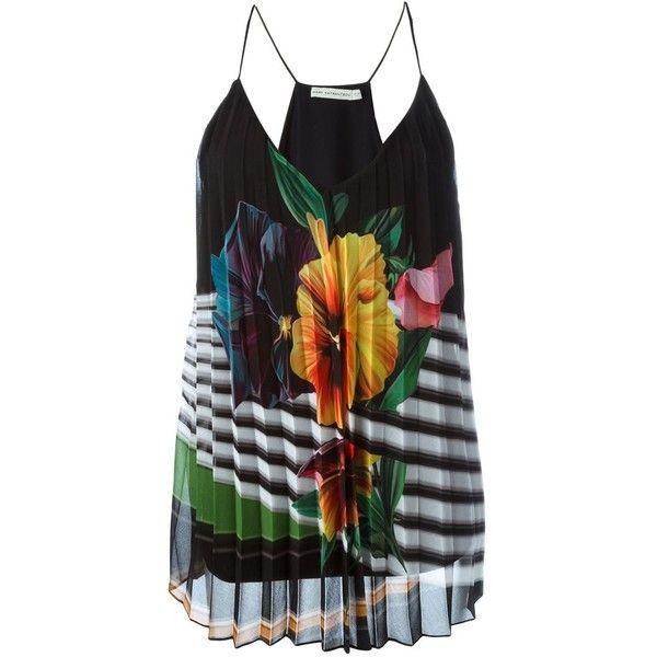 Mary Katrantzou 'Andy' cami top (11 465 SEK) ❤ liked on Polyvore featuring tops, black, silk tank top, silk camisole tops, floral tank top, camisole tank tops and deep v neck tank top