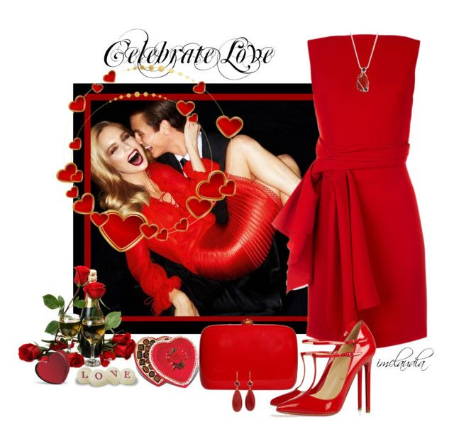 """Red Hot Love"" by imclaudia-1 ❤ liked on Polyvore featuring Tom Ford, Rocio, Christian Louboutin, Mallary Marks and Baccarat"