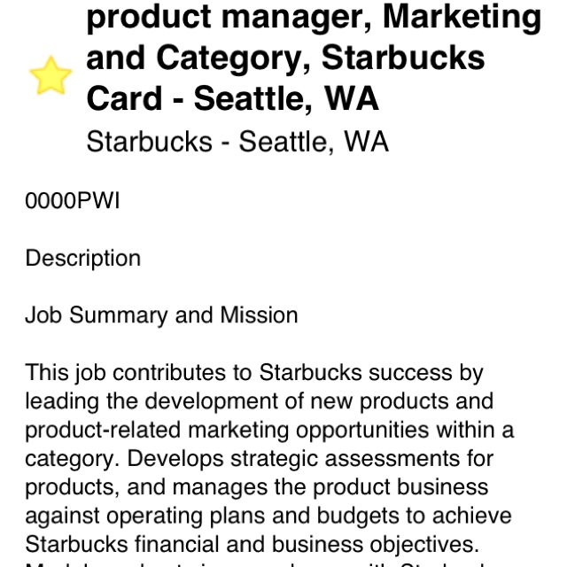 Starbucks Product Manager Marketing And Category Seattle Jobs