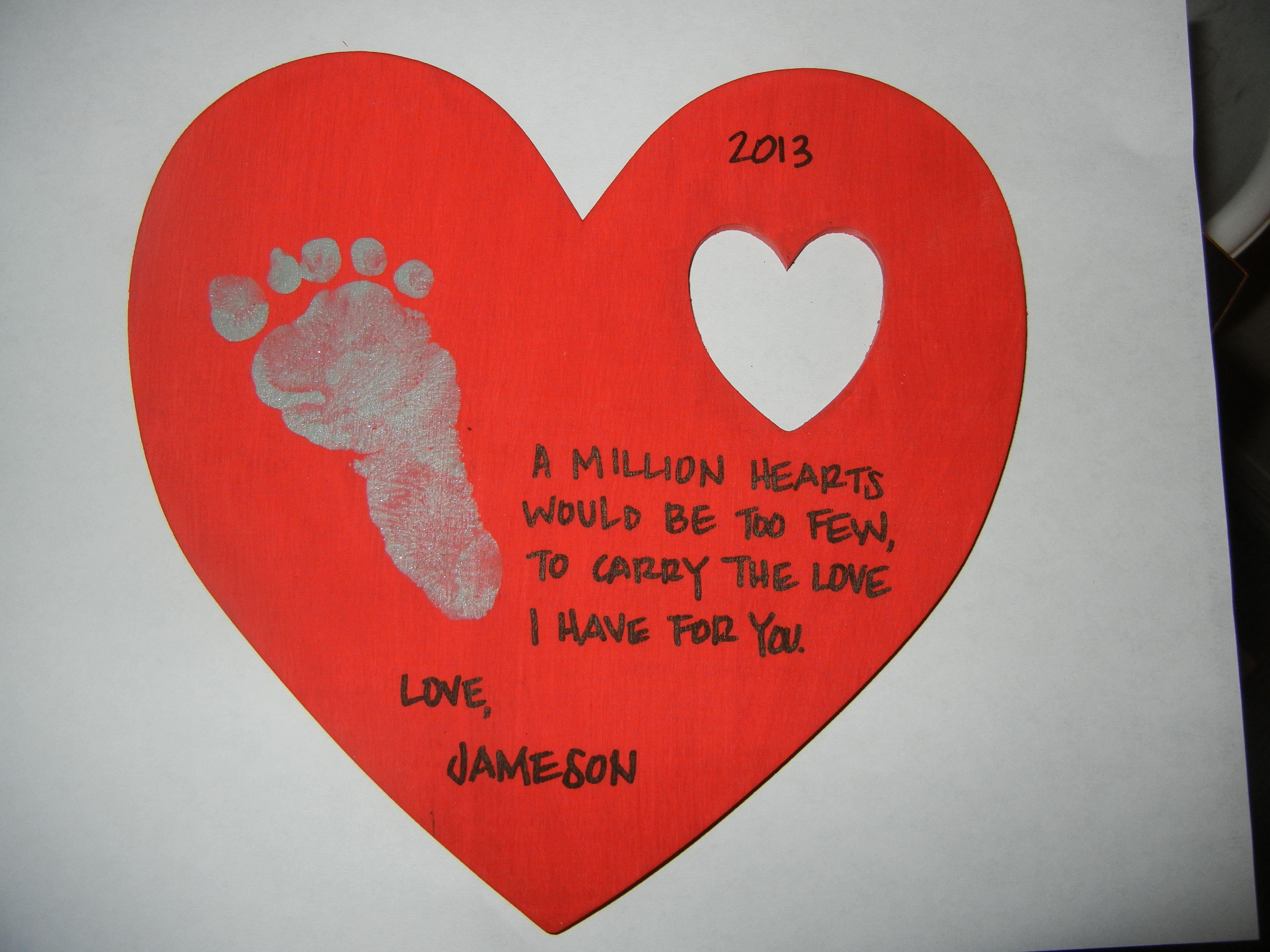 Wooden Keepsake Valentine With Footprint Poem Infant Crafts