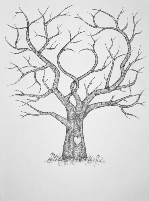 Original Hand Drawn Personalized Fingerprint Wedding Guest Tree 18