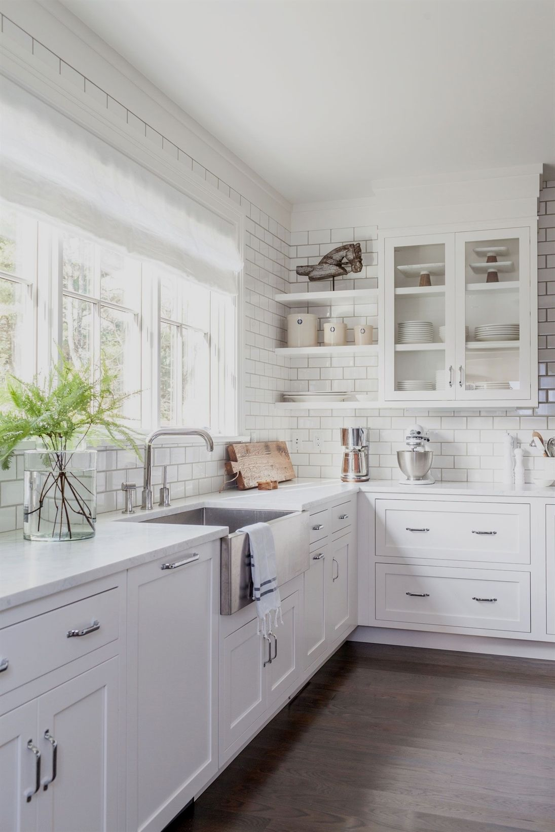 Large window kitchen designs  amazing kitchen design idea with white tile white cabinets large