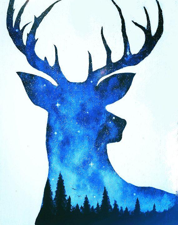 Deer Art Print Double Exposure Deer Night Sky Artwork Deer