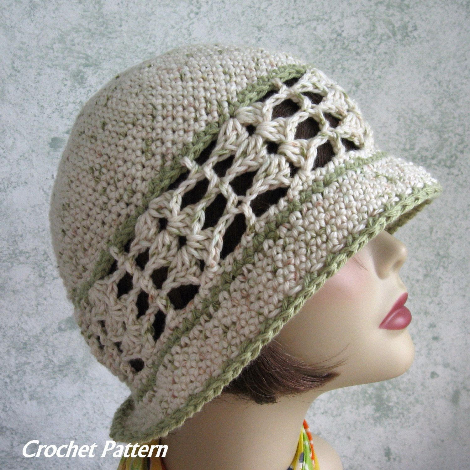 Womens Summer Crochet Hat Pattern Brimmed With Shell Stitch Band