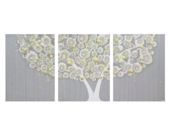 Gray and Yellow Wall Art - Textured Tree Painting on Triptych Canvas - Large 50x20 - MADE TO ORDER  sc 1 st  Pinterest & Gray and Yellow Wall Art - Textured Tree Painting on Triptych Canvas ...