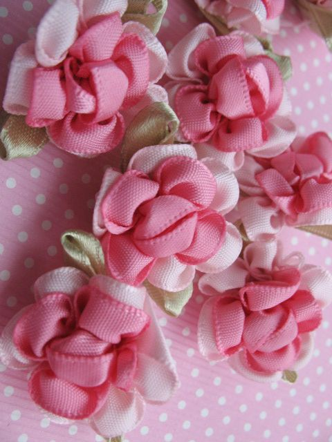 40 Fancy 2 Tone Satin Ribbon Flower Appliques Pink How To Make