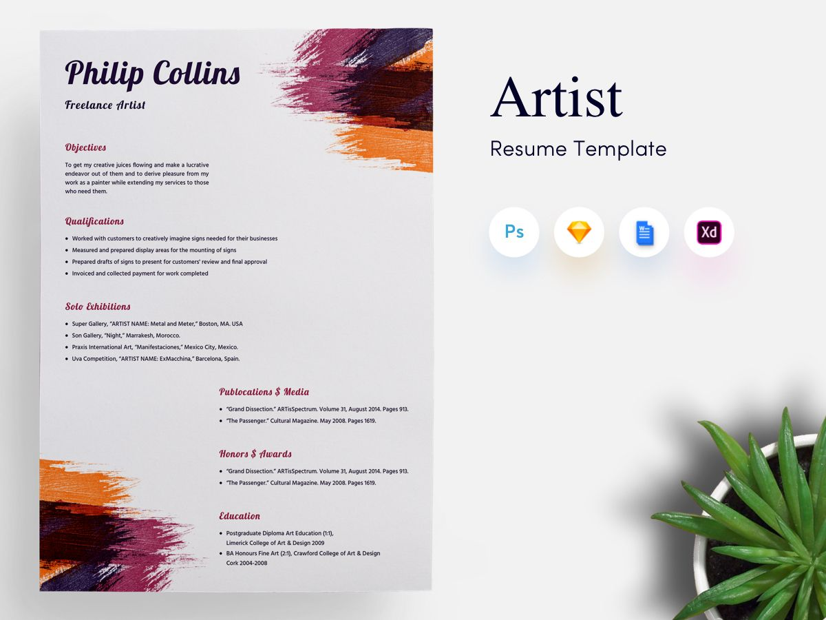 Freelance Artist Cv Resume Template With Images Artist Cv