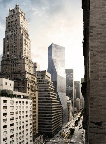 OMA's proposal for 425 Park Avenue. View from Pepsi Cola Building © Courtesy of OMA > from Rem Koolhaas: A Reluctant Architect | ArchDaily