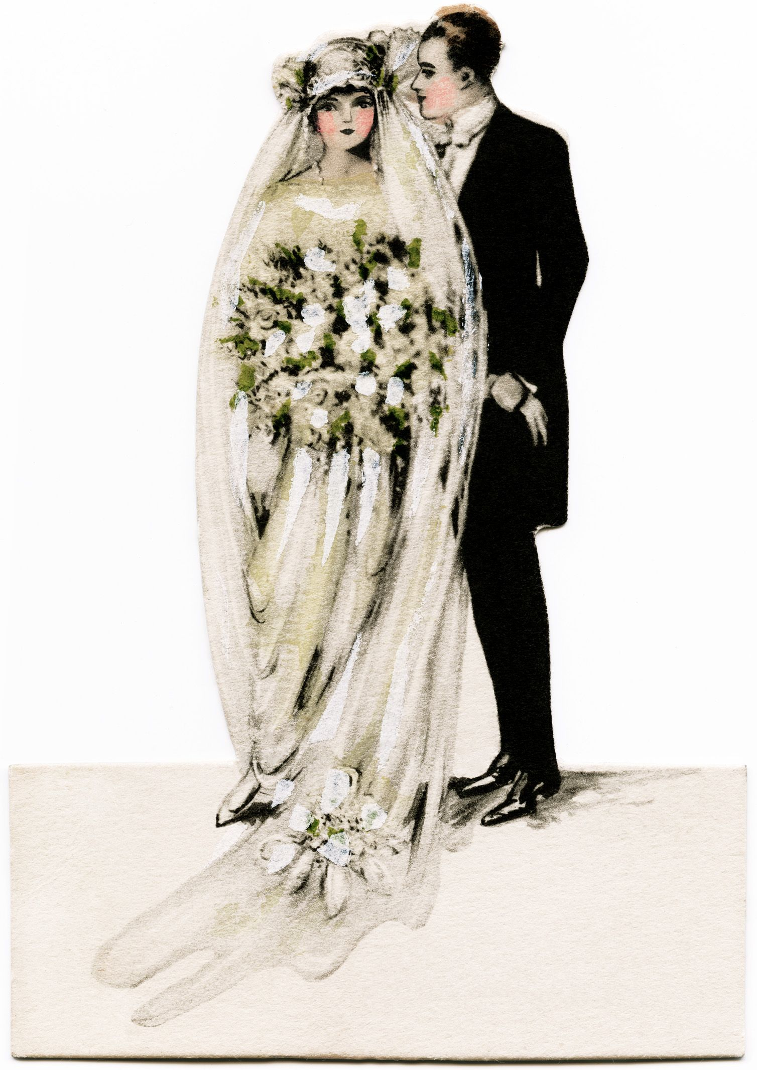 Victorian Bride And Groom Vintage Wedding Clipart Antique Graphics Printable Old Fashioned Card