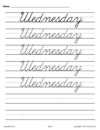 7 Free Days Of The Week Cursive Handwriting Worksheets In 2018