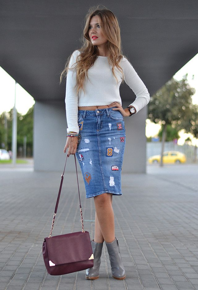Fashion trend for this spring: Denim skirts | Bags, Outfits 2016 ...