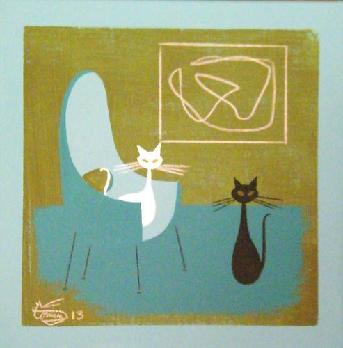 Kitten Art, Colorful Art, Retro Art