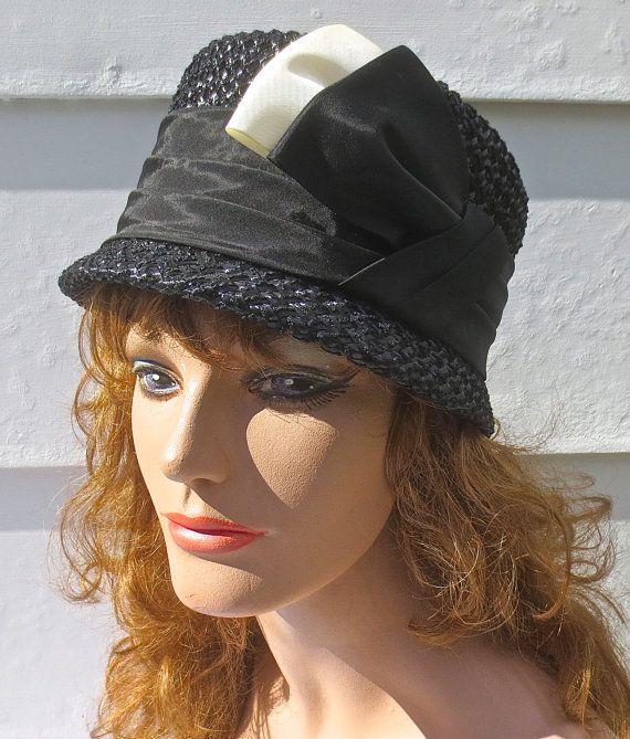Vintage 1960 S Maxine Hats Designer Black Straw Hat Etsy Black Straw Hat Straw Hat Hats