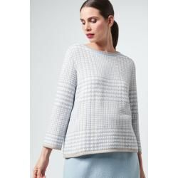 Photo of Strick-Pullover in Hellblau-Weiß gemustert windsor